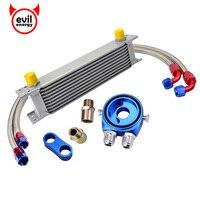Evil energy 10Row 10AN enfriador de aceite de motor Kit giratorio manguera de combustible + AN10 Seprator abrazadera divisoria + adaptador de aceite filtro placa enfriadora