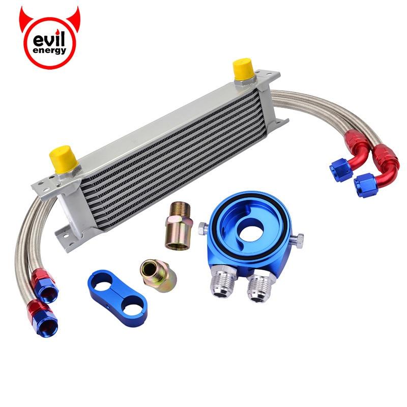 evil energy 10Row 10AN Engine Oil Cooler Kit Swivel Fuel Hose Line+AN10 Seprator Divider Clamp+Oil Adapter Filter Cooler Plate цена
