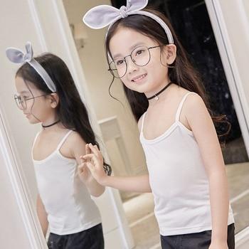 Kids Girls Boys Summer Model Cotton Tank Tops Vest Sleeveless Baby  Undershirts Teenager Underwear for 2-12 Years Children Cloths-Leather bag
