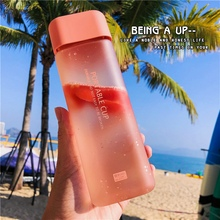 Ins explosion Square Portable Drop Resistant Plastic Water Bottle Student Scrub Leakproof Kettle