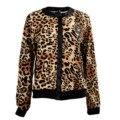 De las mujeres del suéter de la chaqueta con motivos de leopardo cuello redondo de manga larga de poliéster xl nuevo