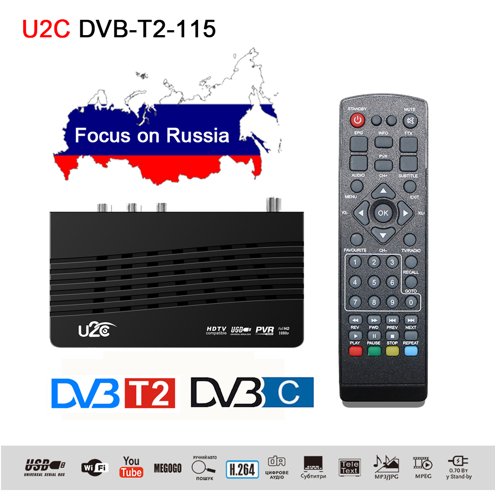 U2C DVB 115 T2 Digital TV Set Top Box DVB C DVB-T2 TV Tuner Receiver H.264 1080P HD TVs Decoder With Wifi MT7601 Youtube Button