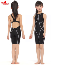 Yingfa FINAapproved one piece competition knee length waterproof chlorine resistant girl's swimwear sharkskin swimsuit for child
