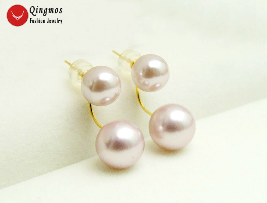 Qingmos 8 10mm Purple Round Sea Shell Pearl Double Front Back Earrings for Women with Solid Gold Ear Stud Fine Jewelry ea696