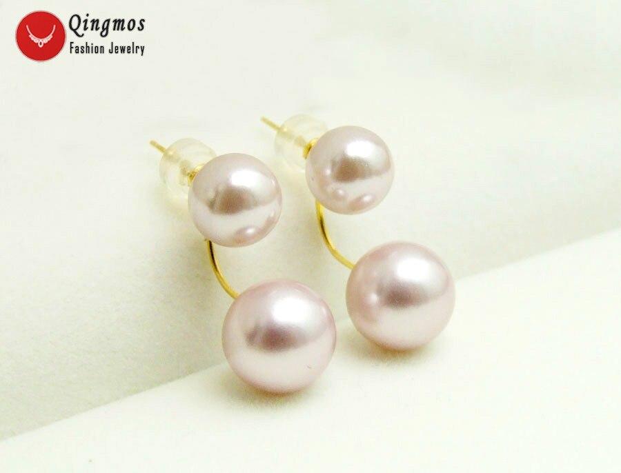 Qingmos 8-10mm violet rond coquille de mer perle Double avant boucles d'oreilles pour les femmes avec or massif oreille Stud Fine bijoux ea696