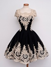 Black Short Homecoming Dress Applique Cocktail Prom Party Formal Gown Custom