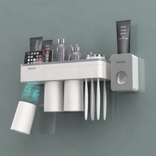 Magnetic Adsorption Inverted Toothbrush Holder Makeup Cleanser Phone Toothpaste Bathroom Storage Wall Mount Set