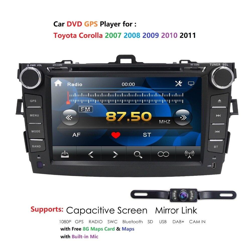Voiture lecteur dvd De Voiture Multimédia pour Toyota corolla 2007 2008 2009 2010 2011 Radio audio navigation gps Streeing Roue BT3G USB ATV