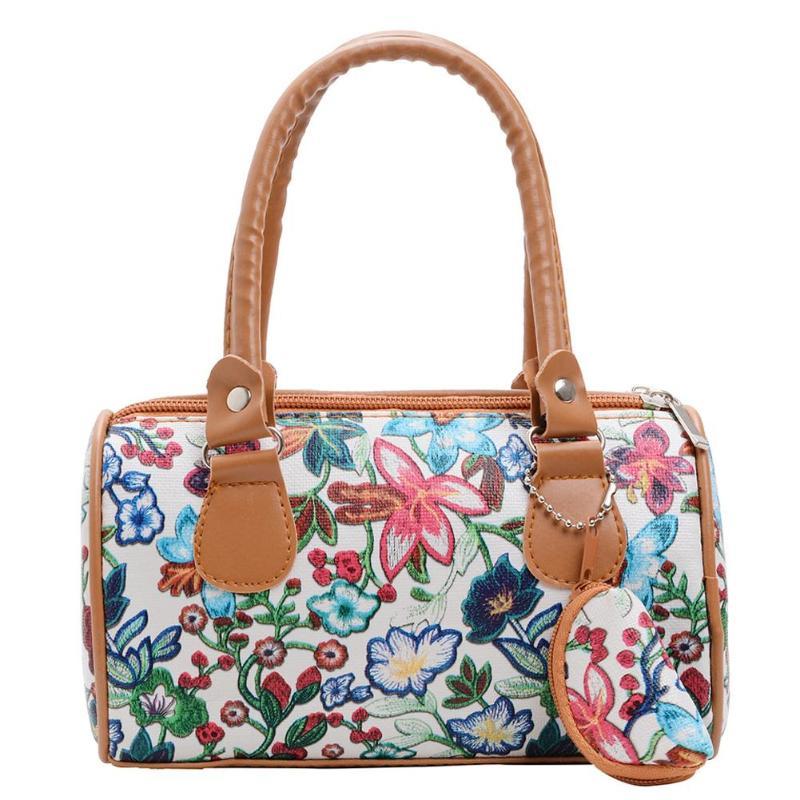 Fashion Floral Print Shoulder Bag For Women Handbags Elegant Ladies Top-handle Bags Beach PU Leather Small Totes Bolsas Feminina