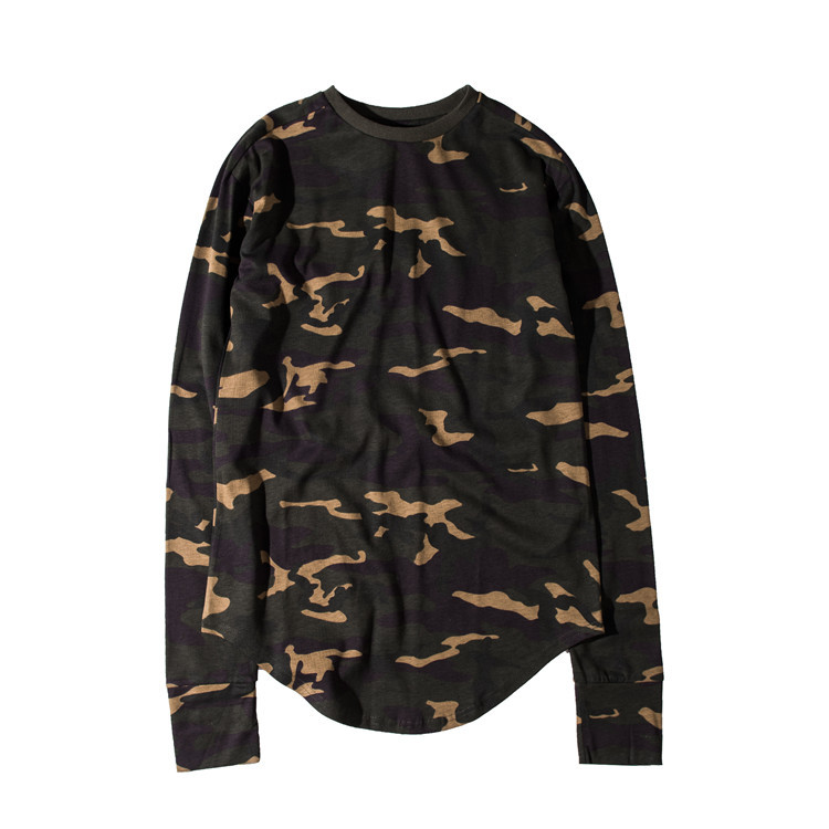 Camouflage Curved Hem Hip Hop T Shirt Men Urban Kpop Longline Extended T-shirt Long Sleeve Boy Tshirts Justin Bieber Kanye West