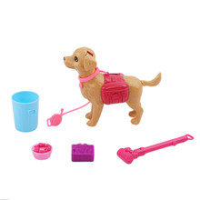 Hot Sale Doll Play House Early Education Dog Pet Sets Dog Food Bones Outside Plastic Dollhouse Accessories Puppet Toy(China)