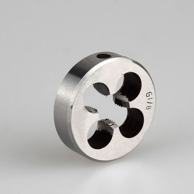 High quality Durable Dies BSP 1 4 3 8 1 2 3 4 Round Die High Speed Steel Silver High Duty Pipe Round Pro 2018 New in Tap Die from Tools