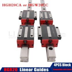 2pc HGR20 HGH20 kwadratowa prowadnica liniowa dowolna długość + 4pc blokujący przesuwanie się wózków HGH20CA/HGW20CC CNC Router grawerowanie w Prowadnice liniowe od Majsterkowanie na