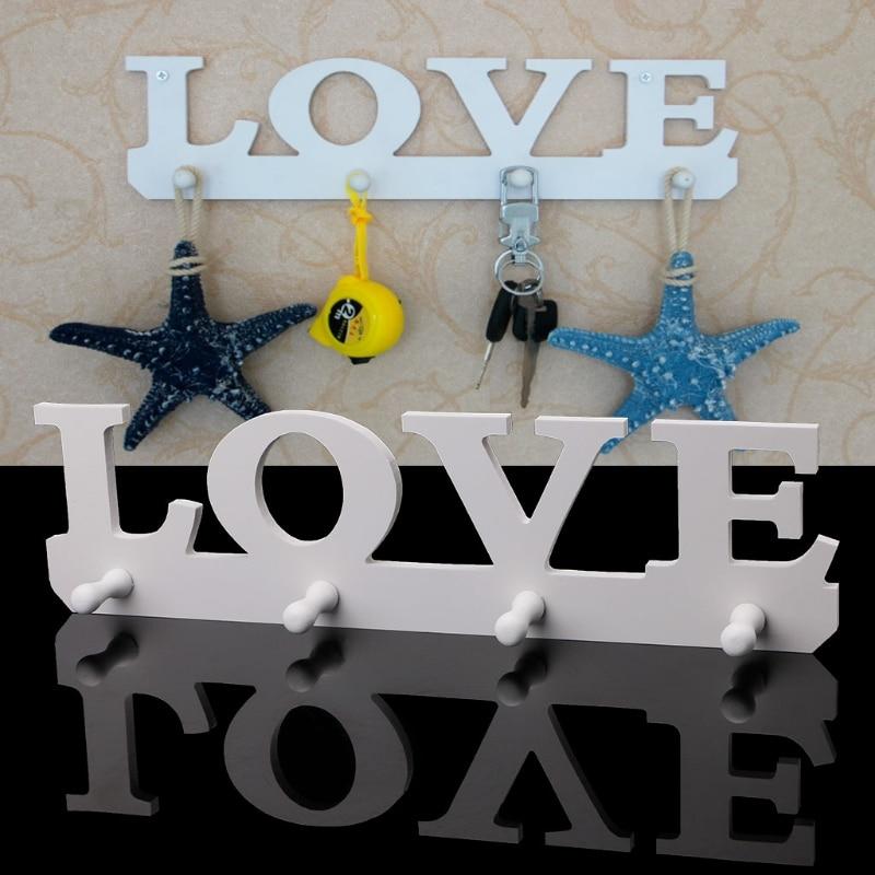 Free delivery Wooden LOVE Hanger Hook 4 Hooks Key Holder Rack Clothes Bag Organizer Wall Decor