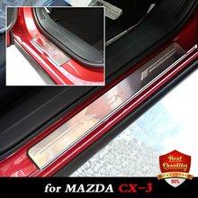 Stee Inoxidable Umbrales de Las Puertas Placa Del Desgaste para MAZDA coche CX-3 CX3 Umbrales de Las Puertas de Doble Tono MAZDA 2015-2016