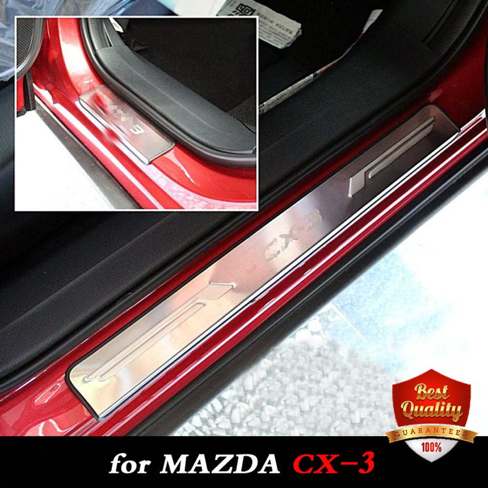 Car Stainless Steel Door Sills Scuff Plate for MAZDA CX-3 Dual Tone Door Sills for MAZDA CX3 2015-2018 все цены