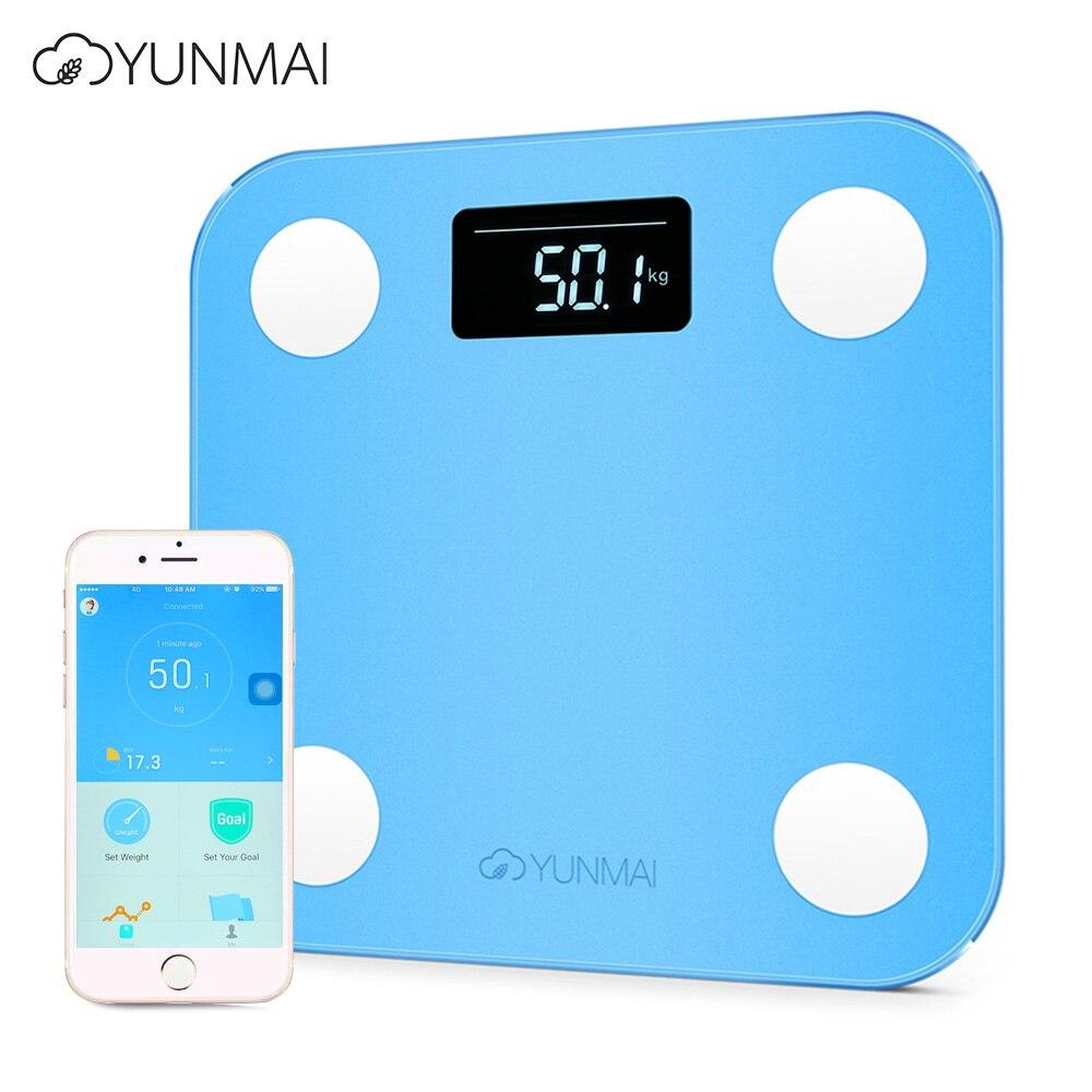 YUNMAI мини Умные Электронные ЖК-дисплей цифровой Вес масштаба жира Ванная комната масштаба Smart Digital с приложением Управление 3 цвета 180 кг
