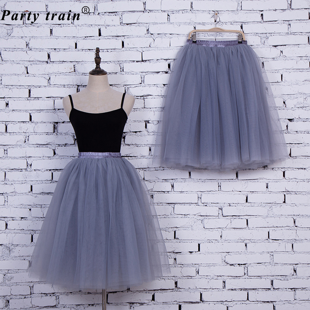 6Layers 65cm Fashion Tulle Skirt Pleated Tutu Skirts Womens Lolita Petticoat Bridesmaids Vintage Midi Skirt Jupe