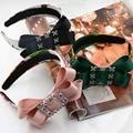 3 Colores 2016 de La Cinta Del Verano Bowknot Grande Barroco Joya de Cristal Aro Del Pelo Mayor Diadema Mujeres Accesorios Headwear Del Pelo de La Joyería