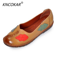 Ethnic Wind Restoring Ancient Ways Leaves Leather Women S Shoes Handmade Casual Round Head Comfortable Soft