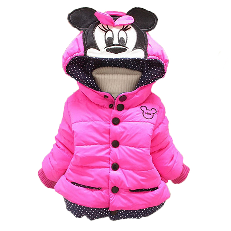 Baby Girls Coats Jackets Winter Infants Warm Outerwear Baby Boys Hooded Coats For Girls Clothes Kids Minnie Mickey Down Jackets(China)