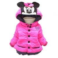 Baby Mädchen Mäntel Jacken Winter Kleinkinder Warme Oberbekleidung Baby Jungen Mit Kapuze Mäntel Für Mädchen Kleidung Kinder Minnie Mickey Unten Jacken