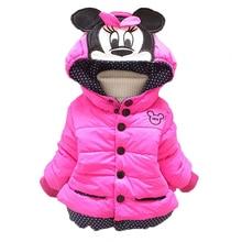 Пальто для маленьких девочек; куртки; зимняя теплая верхняя одежда для малышей; пальто с капюшоном для маленьких мальчиков; Одежда для девочек; детские пуховики с Минни и Микки