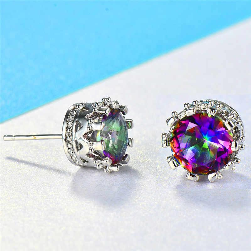 8 мм Женская Радужная корона с австрийскими кристаллами серьги-гвоздики для женщин 925 серебро круглые фиолетовые синие циркониевые свадебные серьги CZ