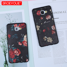 BROEYOUE Case For Galaxy S7 Edge S8 S9 Plus A3 A5 A7 2016 2017 3D Relief Soft TPU Silicone Flower J3 J5 J7