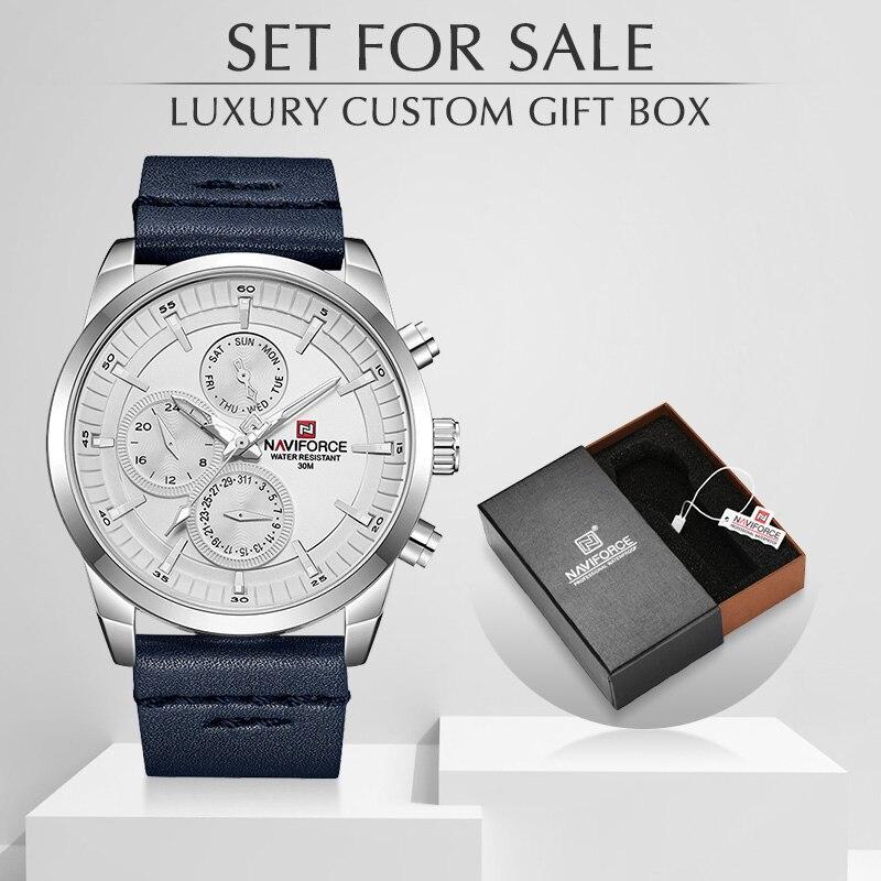 NAVIFORCE Watch Top Brand Luxury Men Waterproof Quartz Watches With Box Set For Sale Fashion Leather Calendar Analog Men Clock