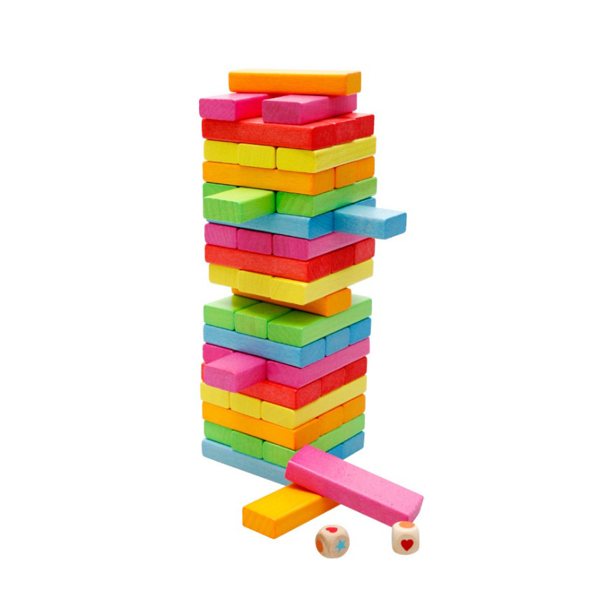Chanycore Baby Learning Educational Wooden Toys Blocks Jenga Domino 54pcs mwz Geometric Shape Montessori Kids Gifts 4144 wooden geometric blocks kids balancing game toys montessori learning educational toys for children family game