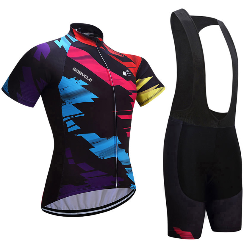 2018 Team sobycle colorful bike shirts Quick Dry Mens Bicycle clothes short sleeves pro Cycling Jerseys gel bicycle shorts set