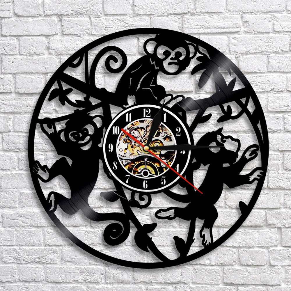 Monkey Vinyl Record Clock With LED Backlight Monkey On Tree Wall Clock Funny Animal Nursery Wall Art Decor For Kids' Room