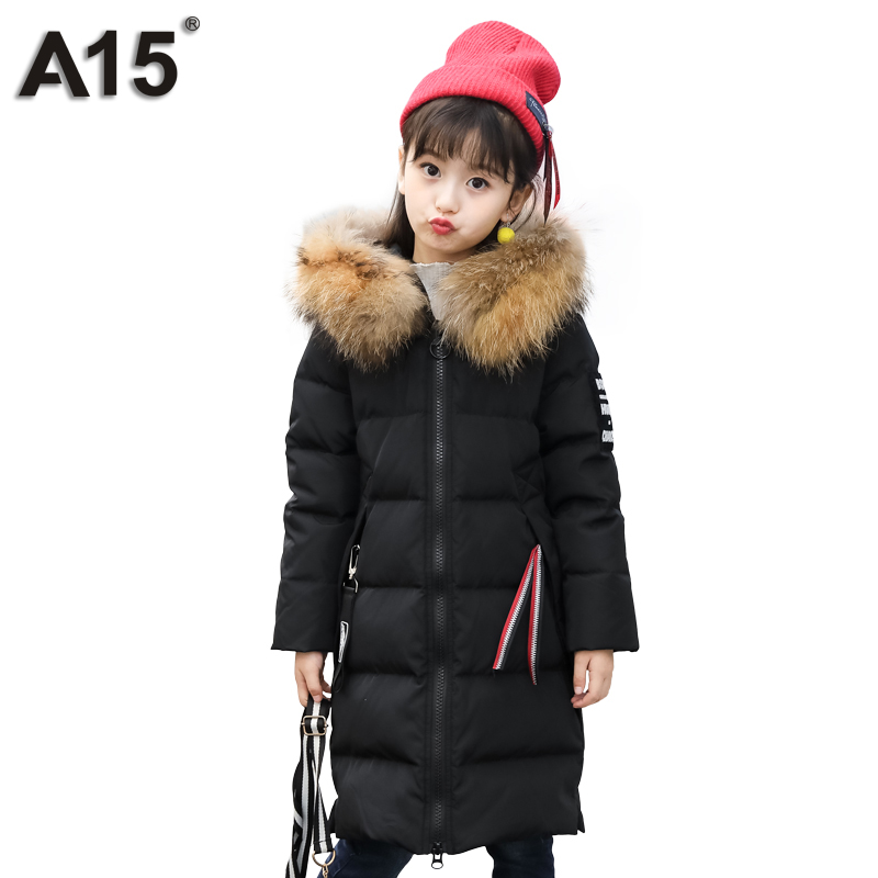 A15 Girls Down Jackets 2018 Brand Winter Thicken Long Russian Style Big Girls Down Coat Outerwear Parkas Overcoat Teens 10 12 14 a15 girls down jacket 2017 new cold winter thick fur hooded long parkas big girl down jakcet coat teens outerwear overcoat 12 14