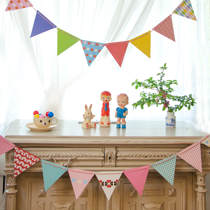 1set 10set Korean Paper Flags And Banners Bunting Pennant