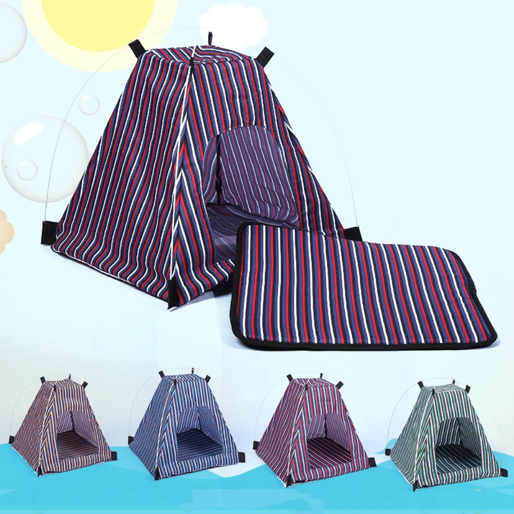 Creative Pet Dog Bed Portable Outdoor Traveling Striped Washable Breathable Dog Tent Shape With Folding Feature Pet Supplies