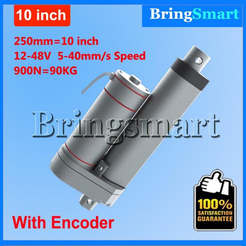 Bringsmart Hot L-TGA-Y 250mm 10 Inch electric linear actuator with Encoder 900N 90KG load 12-48V Tubular Motor Stroke стоимость