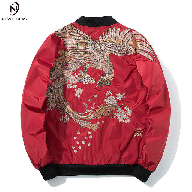Novel ideas Spring MA1 Military Jackets Men with Phoenix on Back Petals Chinese Style Hip Hop Jackets Standard Baseball Cloth
