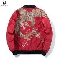 Novel ideas Spring MA1 Military Jackets Men with Phoenix on Back Petals Chinese Style Hip Hop Jackets Standard Baseball Cloth