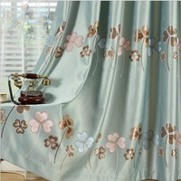 3 Colorful Flower Blackout Curtains Drape Drop Door Window High Shading Tulle Curtains Textile Fiber Screen
