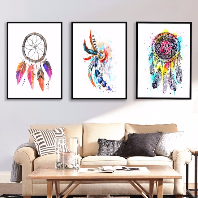 Watercolor Dream Catcher Canvas Art Print Painting Poster Wall Pictures For  Room Home Decorative Bedroom Decor