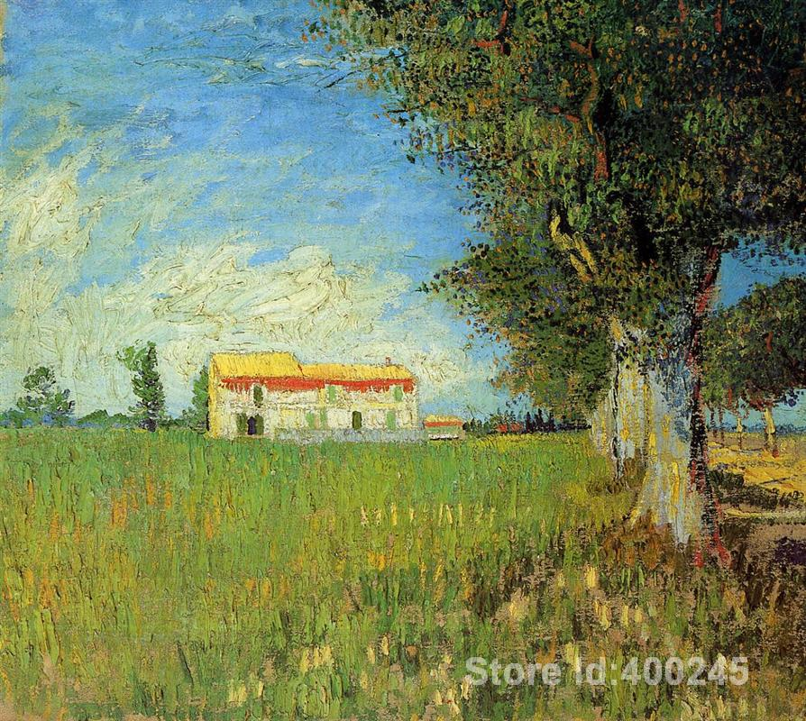 Hand painting art Farmhouse in a Wheat Field of Vincent Van Gogh reproduction oil Canvas Handmade High quality