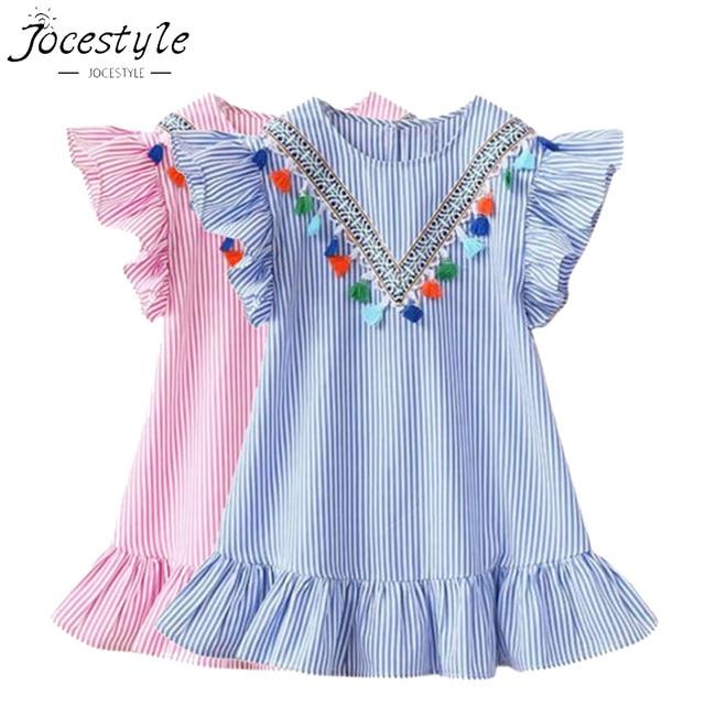 Vestidos de verão Do Bebê Meninas Vestido Borla Manga Voando Tarja Bonito Crianças Vestidos de Festa para Crianças Vestido de Princesa das meninas Tops Roupas
