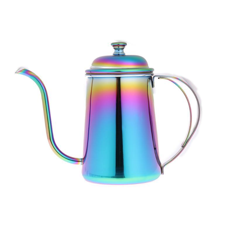 650 ML Regenbogen Edelstahl Hand Punch Topf Kaffeekanne Drip Schwanenhals Auslauf Lang Mund Wasserkocher Teekanne