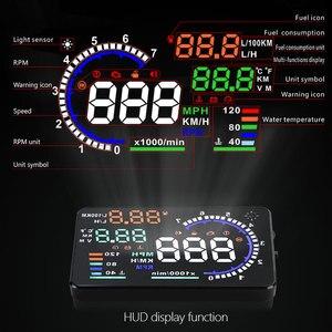 Image 3 - GEYIREN 5.5 A8 HUD Car head up display OBD II EUOBD LED Windscreen Project Alarm System on board OBD scanner Universal auto