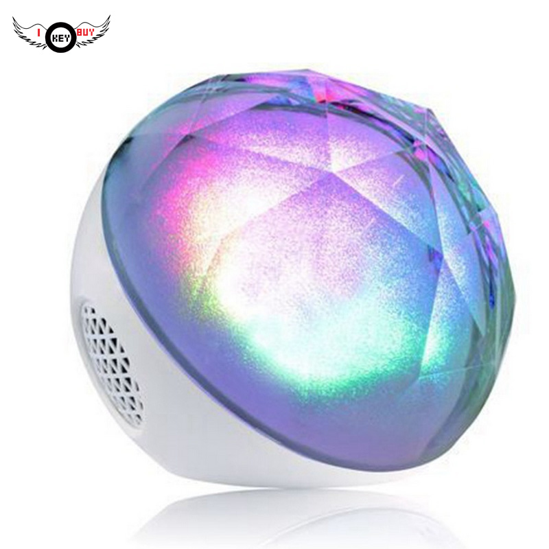 1PC LED Crystal Magic Ball Remote Control Speaker Wireless Bluetooth Subwoofer High Quality Speakerphone 1200 mAh Gift White