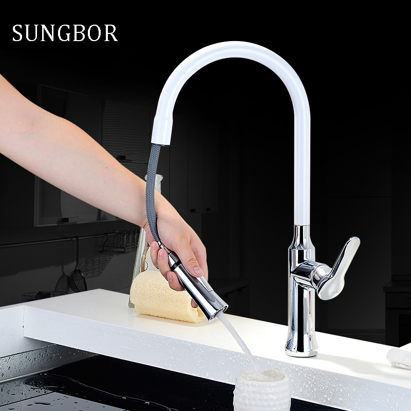 High Quality chrome and white kitchen faucet sink faucet Swivel Deck Mounted Water Faucet,Mixer & Taps with pull out shower head good quality wholesale and retail chrome finished pull out spring kitchen faucet swivel spout vessel sink mixer tap lk 9907