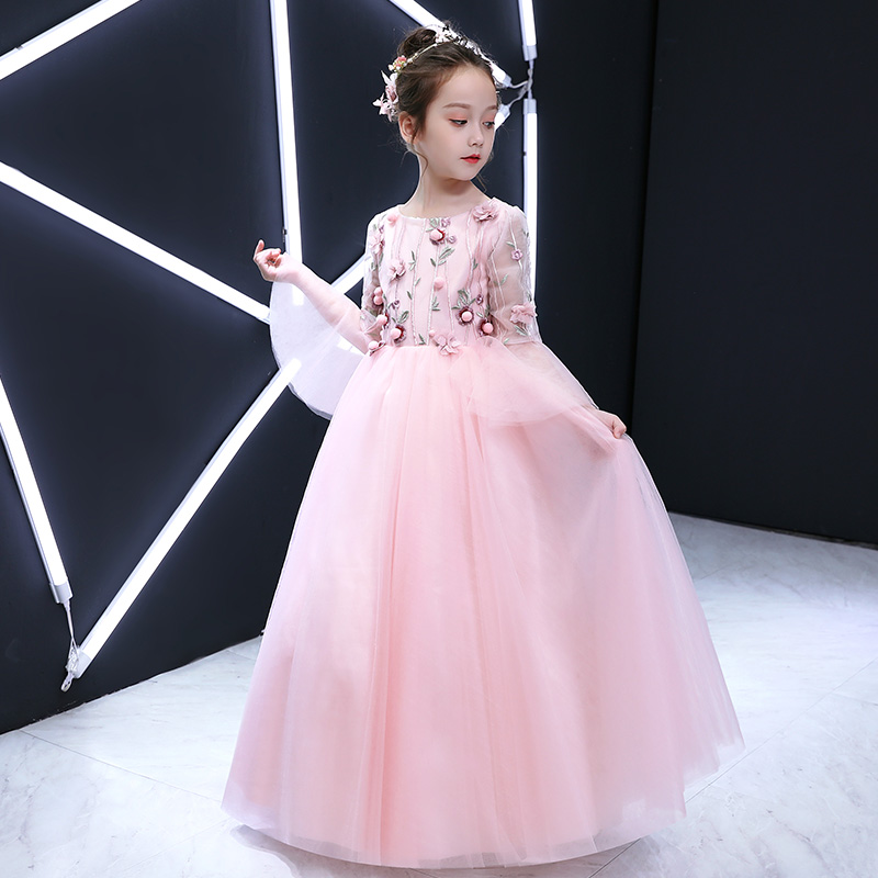 2019 Summer autumn New Children Girls Pink Cute Birthday Wedding Party Long Princess Flowers Dress Kids Baby Host Piano Dress