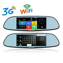 Otstrive 7 polegada 3G WiFi Android 5.0 GPS Espelho DVR FHD 1080 P Gravador de Vídeo de Lente Dupla Câmera de Visão Traseira GPS DVR Do Bluetooth estacionamento