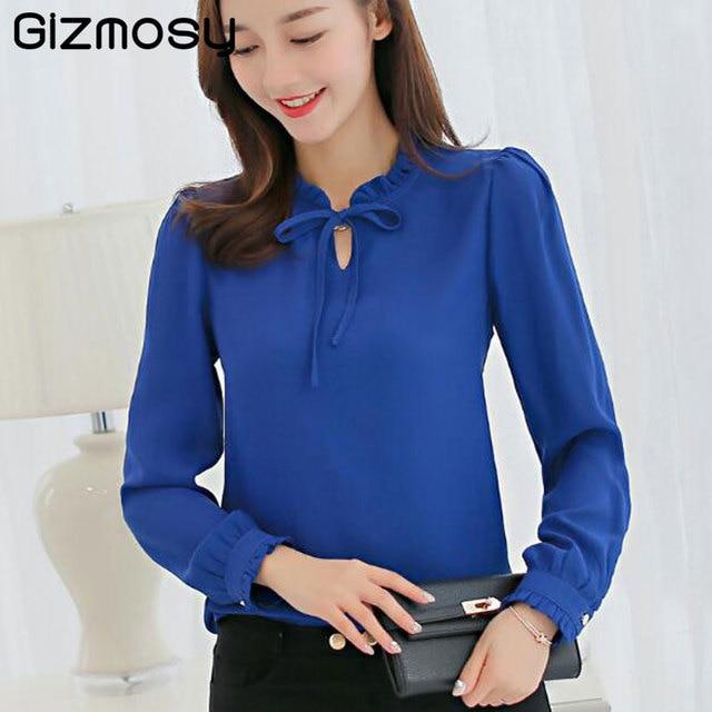 20070b149 1 unid elegante blusa de gasa blusa camisa manga larga Mujer pétalo Camisas  Tops moda Otoño